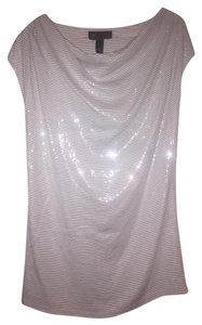 INC International Concepts Sequin Shiny Flashy Top White Grey stripe