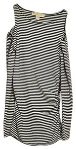 Michael Kors Collection Striped Longsleeve Stretchy Top White and Black