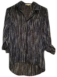 Michael Kors Collection Longsleeve Buttonup Sheer Button Down Shirt Black and Blue