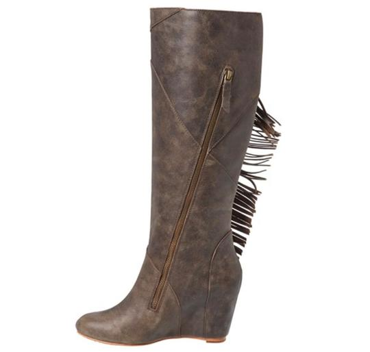 Koolaburra Leather Fringe Hem Wedge Fashion Wetsand Boots Image 6