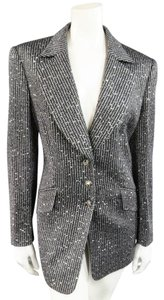 Escada Sequin Boucle Metallic Silver Blazer