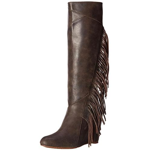 Koolaburra Leather Fringe Hem Wedge Fashion Wetsand Boots Image 1