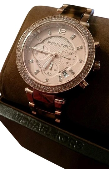 Michael Kors New Michael Kors Rose Gold Tone Chronograph Parker Pave Tortoise Watch Image 0