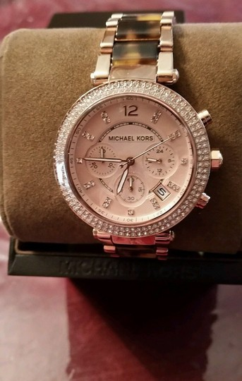 Michael Kors New Michael Kors Rose Gold Tone Chronograph Parker Pave Tortoise Watch Image 1