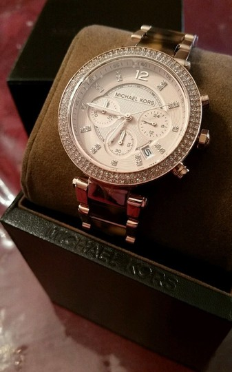 Michael Kors New Michael Kors Rose Gold Tone Chronograph Parker Pave Tortoise Watch Image 2
