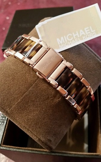 Michael Kors New Michael Kors Rose Gold Tone Chronograph Parker Pave Tortoise Watch Image 4
