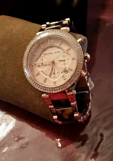 Michael Kors New Michael Kors Rose Gold Tone Chronograph Parker Pave Tortoise Watch Image 5