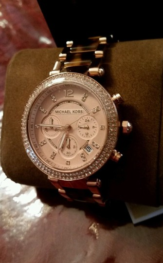Michael Kors New Michael Kors Rose Gold Tone Chronograph Parker Pave Tortoise Watch Image 6