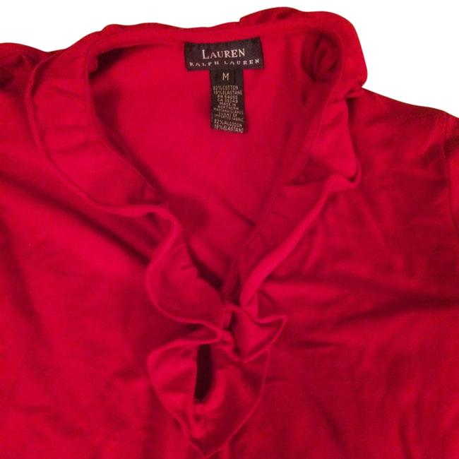 Item - Red Ruffle Necline Pullover Tee Shirt Size 8 (M)