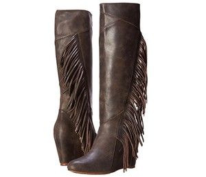 Koolaburra Leather Fringe Hem Wedge Fashion Wetsand Boots