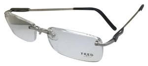 Fred Lunettes New FRED LUNETTES Eyeglasses CAYMAN 003 56-17 Platinum Rimless