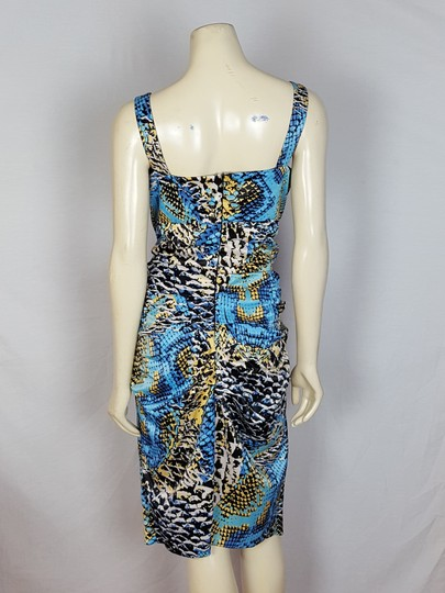 Signature by Sangria White, Yellow, Blue And Black Sleeveless Colorful Size 14 Dress low-cost