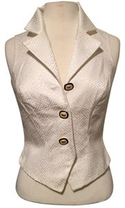 Linda Segal Vest Gold Buttons Vintage White on white Halter Top