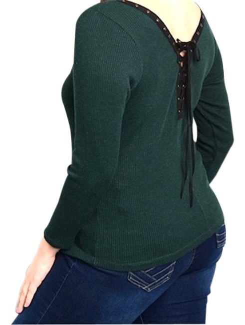Preload https://img-static.tradesy.com/item/20089946/green-lace-up-back-ribbed-knit-sweaterpullover-size-26-plus-3x-0-1-650-650.jpg