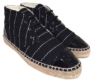 Chanel Espadrille Classic Striped Tweed Patent black Athletic