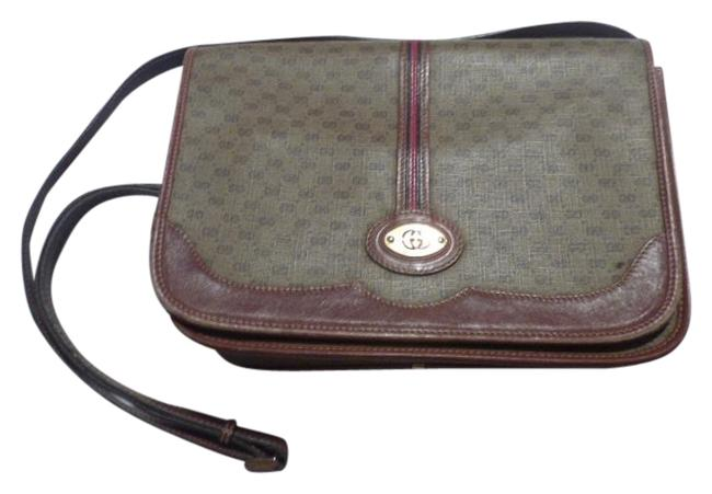 Gucci Vintage Body Or Purse Brown Leather/Small G Logo Print In Shades Of Brown with Red/Green Accents Leather/Coated Canvas Messenger Bag Gucci Vintage Body Or Purse Brown Leather/Small G Logo Print In Shades Of Brown with Red/Green Accents Leather/Coated Canvas Messenger Bag Image 1