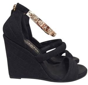 Chanel Stiletto Quilted Chain Ankle Strap black Wedges