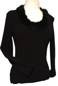 CAbi Rayon Nylon Spandex Blend Knit With Faux Fur Neck Sweater