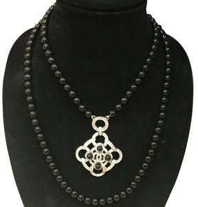Chanel Chanel Crystal Camellia Medallion Black Bead Double Strand Necklace