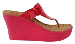 Michael Kors Patent Leather Tall Pink Wedges
