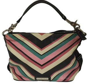 Isabella Fiore Leather Striped Baguette