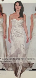 Augusta Jones Creme Charmuse Organza Ruffles Tatum Strapless 8/10 Draping Slim Sexy Wedding Dress Size 8 (M)
