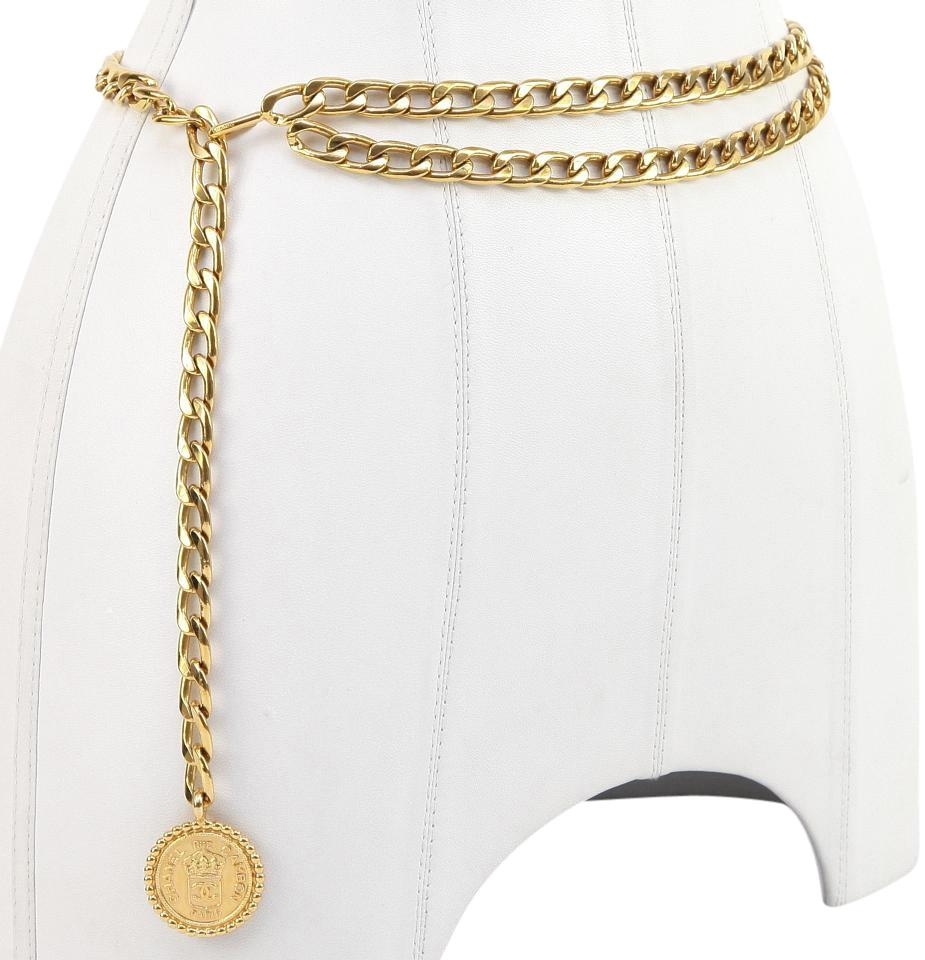 cf4e26aec08b14 Chanel CHANEL Gold Chain Belt Necklace RUE CAMBON CC Medallion Logo Vintage  Image 0 ...