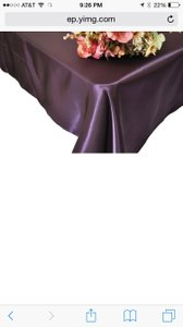 14 Eggplant/satin Tablecloths