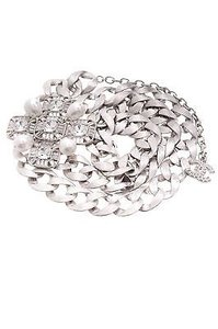 Chanel Chanel Silver-tone Crystal Faux Pearl Chain Belt