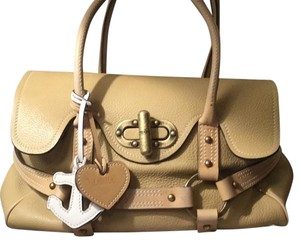 Luella Satchel in Tan, Gold Clasp, White Decal.