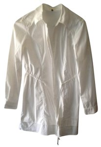 Adrienne Vittadini Coat Button Down Shirt white
