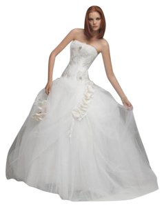 Coco Anais Sexy Corset Lace Tulle An110 Ballgown Strapless 3d Flowers Sz 8/10 Wedding Dress