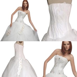 St. Pucchi Sexy Corset Lace Tulle An110 Ballgown Strapless 3d Flowers Sz 8/10 Wedding Dress