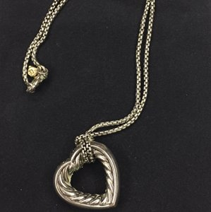 David Yurman DAVID YURMAN Sterling Silver Cable Heart Pendant Necklace; Like New; Comes with Duster