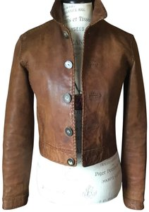 Ralph Lauren Genuine Fitted Brown Leather Jacket