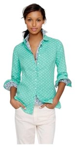 J.Crew Cotton Linen Long Roll Up Sleeves Button Down Shirt Emerald with white polka dots