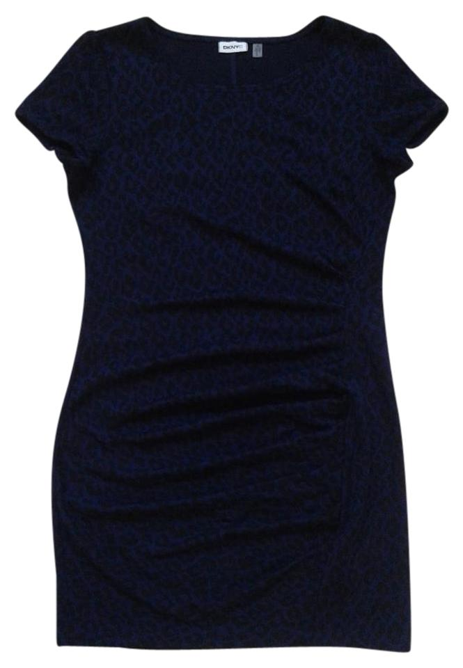 0df1412819 DKNY Navy Blue   Black Leopard Print Ruched Knit Jersey Work Office Dress