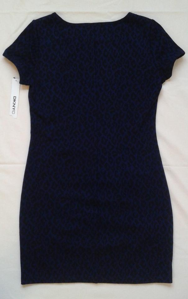 4368bea557 DKNY Navy Blue   Black Leopard Print Ruched Knit Jersey Above Knee Work Office  Dress Size 8 (M) - Tradesy