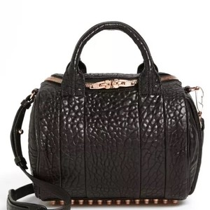 Alexander Wang Studded Rose Edgy Satchel in Black/Rose Gold