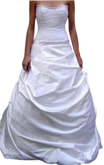 Justina McCaffrey Pearl Offwhite White Silk Satin Tulle Jubilate 1809 Ruched Low Back Strapless Full 8/10 Feminine Wedding Dress Size 8 (M) Image 2
