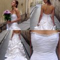 Justina McCaffrey Pearl Offwhite White Silk Satin Tulle Jubilate 1809 Ruched Low Back Strapless Full 8/10 Feminine Wedding Dress Size 8 (M) Image 3