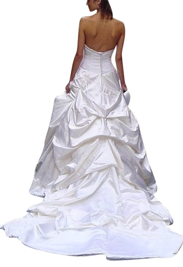 Justina McCaffrey Pearl Offwhite White Silk Satin Tulle Jubilate 1809 Ruched Low Back Strapless Full 8/10 Feminine Wedding Dress Size 8 (M) Image 4