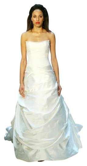 Justina McCaffrey Pearl Offwhite White Silk Satin Tulle Jubilate 1809 Ruched Low Back Strapless Full 8/10 Feminine Wedding Dress Size 8 (M) Image 9