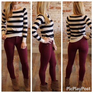 Fashion Envy Skinny Pants Burgundy