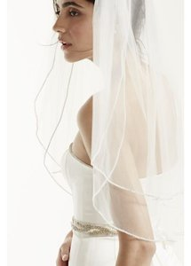 David's Bridal Two Tier Sparkling Rhinestone Edged Mid Veil