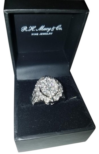 diamond solitaire wedding 4cttw oval cluster 14kw ring On rh macy and co fine jewelry