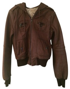 Michael Kors Cognac Brown Leather Jacket Coat