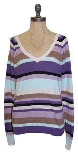 Charlotte Tarantola Back Lace Striped V-neck Sweater