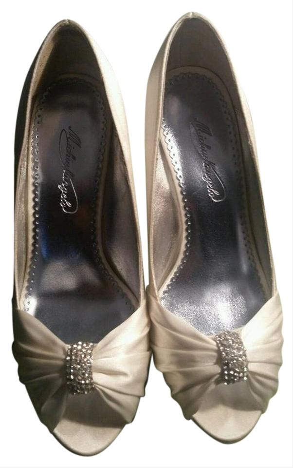 Charmeuse Crystal Toe with Peep Bridal David's Ornament Ivory Pumps Pleated ETWwqa0A6