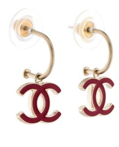 Chanel Gold-tone Chanel red CC enamel drop earrings